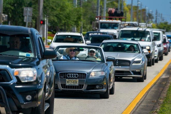 Roadwork creates a massive traffic jam in suburban Delray Beach along West Atlantic Avenue near Hagen Ranch Road earlier this month.
