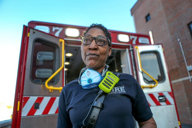 Lt. Stephany Blackwell of PFD Rescue 7 drops off an emergency-care patient at Roger Williams Medical Center in Providence.