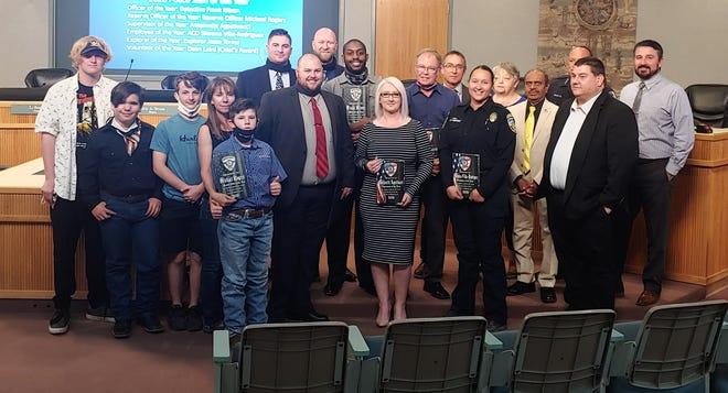 A group shot of Ridgecrest Police Department award recipients at the Ridgecrest City Council meeting April 8, 2021.