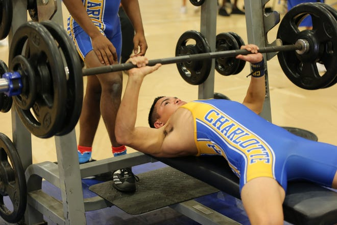 Jaden Opalach of Charlotte competes in the 139-pound weight class. Opalach won the class with a 490 total.