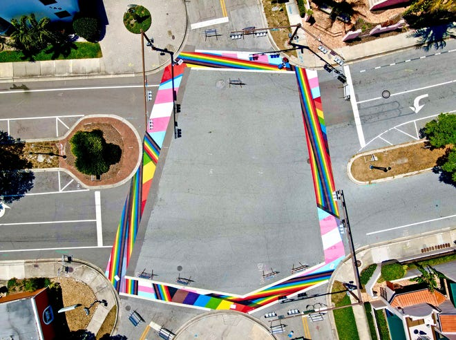 Spanning the five crosswalks at the downtown Sarasota junction of Second Street with Cocoanut and Pineapple avenues, a one-of-a-kind street mural is being unveiled this weekend by Project PRIDE SRQ. The 2,500-square-foot mural is a visual representation of culture of the local LGTBQ community along with Project PRIDE's dedication to diversity and allyship.
