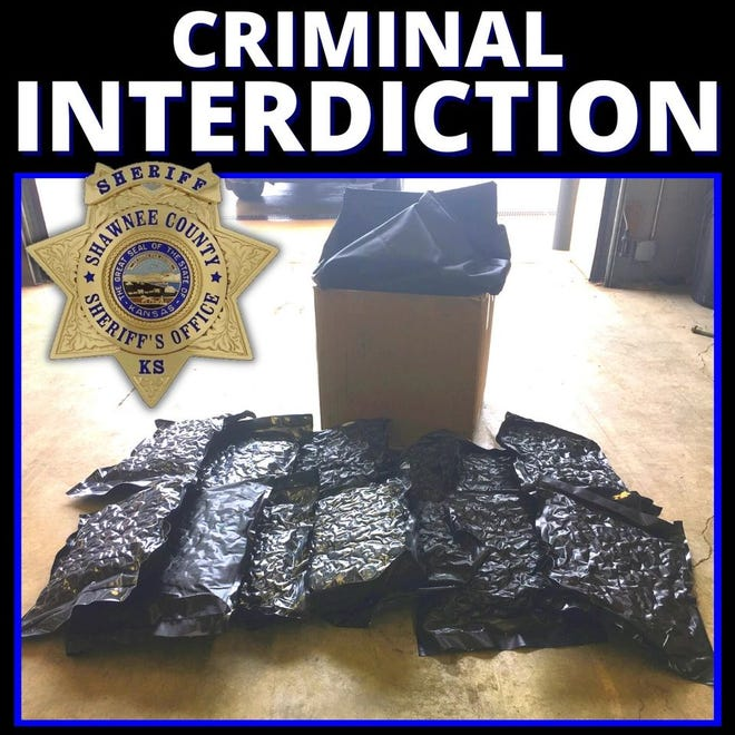 The Shawnee County Sheriff's Office used this image to illustrate an announcement posted on its Facebook page about the seizure of 15 pounds of marijuana.