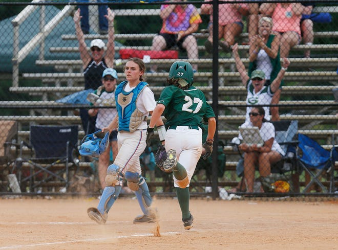 Gordo's Kaylee Quimby (27) scores to give the Greenwave a tie-breaking run in the bottom of the 10th inning of a game against Pleasant Valley in the AHSAA Class 3A state tournament at Lagoon Park in Montgomery Wednesday, May 17, 2017. Gordo won the game 7-6 after 10 innings.  [Staff Photo/Erin Nelson]