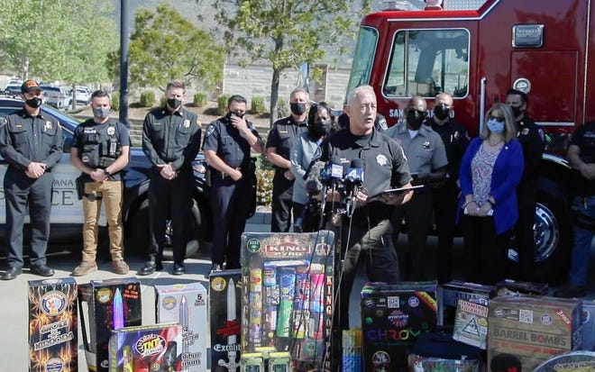 San Bernardino County Fire Marshal Mike Horton speaks during a press conference in Fontana on Thursday, April 8, 2021, about a new illegal fireworks reporting system.