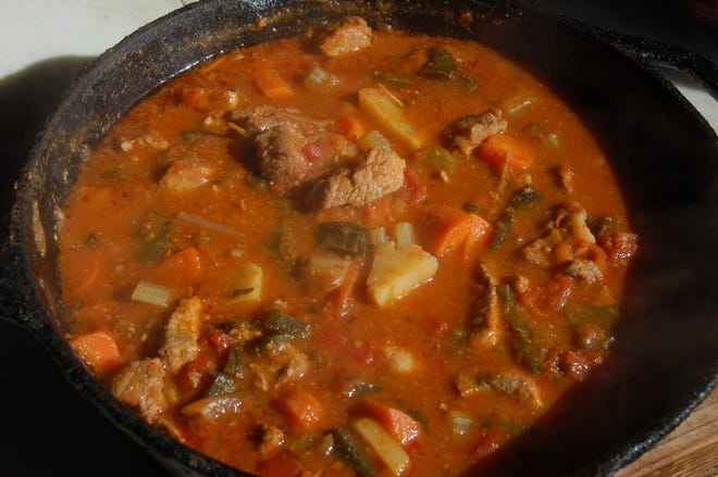 This pot of tasty Mexican stew began as guisada but Luke decided it was time for stew and changed plans as the meat simmered.