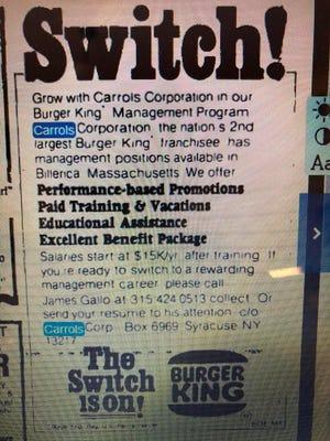 1980. gada reklāma apstiprina populāru pārtikas ķēžu apvienošanos.