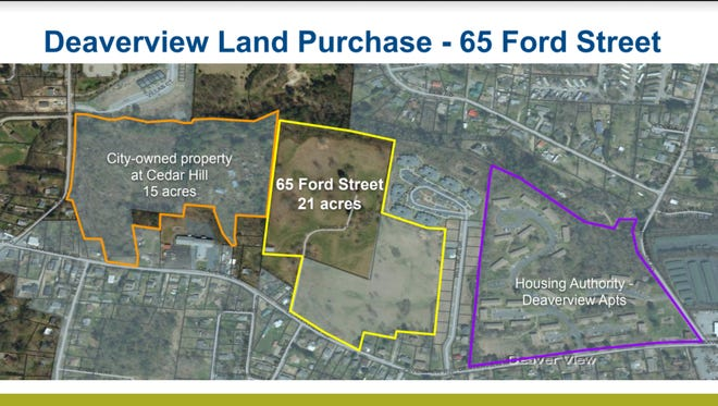 "A map of what could be a combined 60 acres for a ""purpose built community"" to replace the Asheville Housing Authority's Deaverview Apartments."