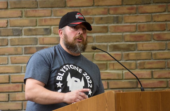 Robert E. Taylor addresses members of Bucyrus City Council during a meeting in April 6. Taylor's petitions to run for an at-large seat on council were rejected by the Crawford County Board of Elections.