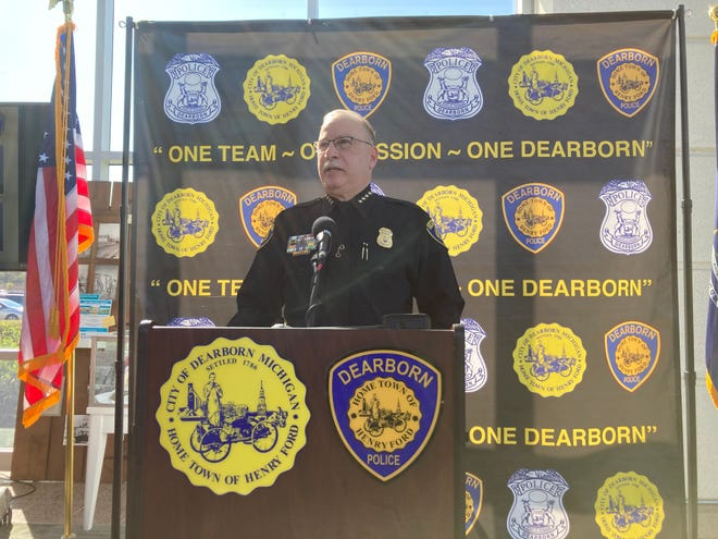 Dearborn Police Chief Ronald Haddad during a press briefing April 9, 2021. During the briefing, Haddad praised Dearborn officers regarding an incident involving a man struggling with mental health issues.