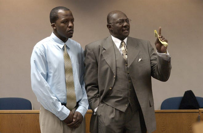 Desmon Venn (at left), 26 and of West Bloomfield, appears with his attorney Elbert Hatchett at his arraignment on a manslaughter charge in 48th District Court before Magistrate Peter Mansour in 2003. Venn punched West Bloomfield High School classmate Zuhair (Steve) Pattah in 1994 and sent him into a 9-year coma and eventual death. Pattah was 25 when he died in January 2003.