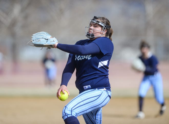 Great Falls High pitcher Morgan Sunchild delivers to the plate in Thursday's game against Helena Capital.