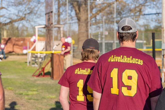Supporters of the #LiveLikeLucas movement that garnered more than $20,000 in donations to improve the intramural field at Freed-Hardeman were on hand for the field dedication on Thursday, April 8, 2021.