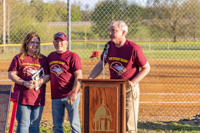 Freed-Hardeman President David Shannon speaks at the dedication ceremony for the Lucas Russo Intramural Field on campus on Thursday, April 8, 2021.