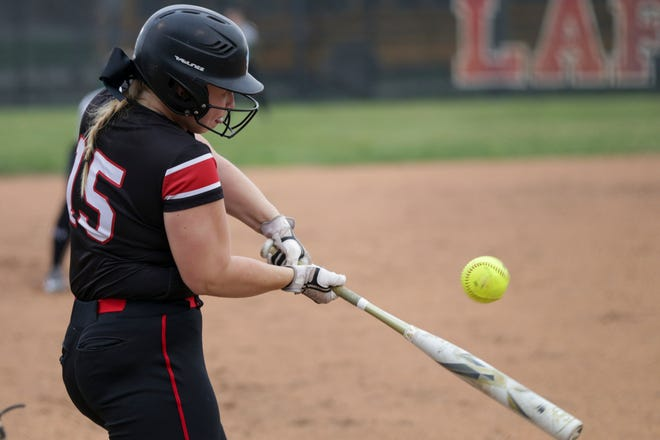 Lafayette Jeff's Sarah Graves (15) connects during the first inning of an IHSAA softball game, Thursday, April 8, 2021 in Lafayette.