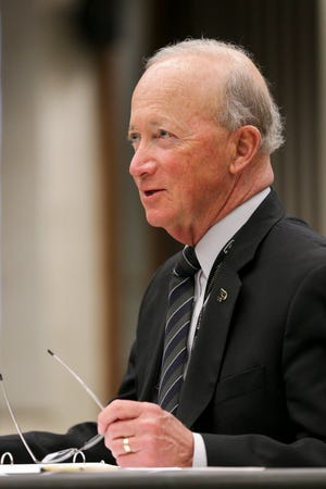Purdue president Mitch Daniels speaks during a Purdue University Board of Trustees meeting, Friday, April 9, 2021 in West Lafayette.