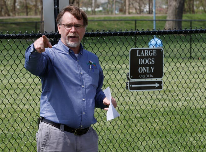 Lancaster Parks and Recreation Superintendent speaks during the dedication of the Doggie Destination at Miller Park Friday. It is the first city-owned dog park.