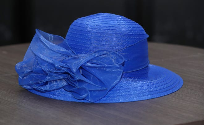 There will be nothing but blue skies in your future if you sport this cobalt blue bucket hat, $25, at the Kentucky Derby. Big Brims & Fancy Trims annual Derby Hat sample sale at the Kentucky Derby Museum in Louisville on Apr. 8, 2021.