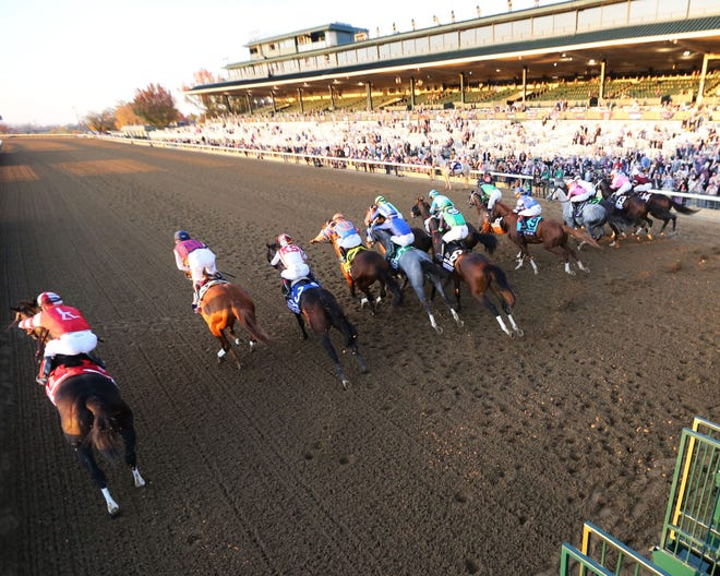 The horses burst out of the gates at the Breeders' Cup Juvenile G1 at Keeneland Race Course on Nov. 6, 2020, in Lexington, Kentucky. Essential Quality finished first, followed by Hot Rod Charlie and Keepmeinmind.