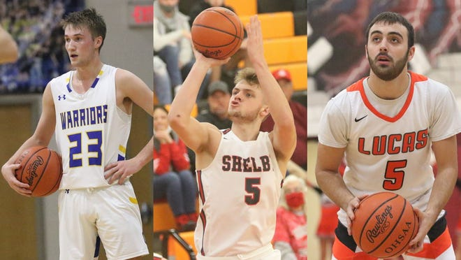 Ontario's Griffin Shaver, Shelby's TJ Pugh and Lucas' Ethan Sauder were all named Mansfield News Journal Boys Basketball Players of the Year for their historic careers.