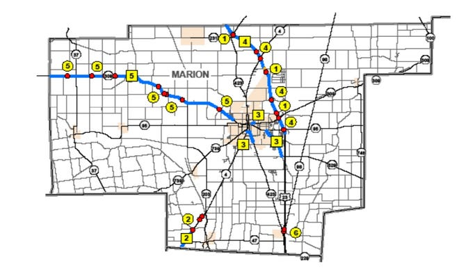 The Ohio Department of Transportation announced Marion will have five road repair projects begin, or finish, in 2021.