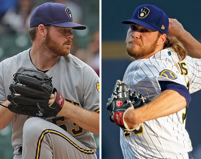 Milwaukee Brewers pitchers Brandon Woodward, left, and Corbin Burnes.