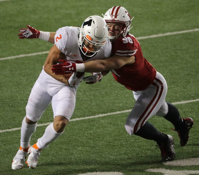 Former Catholic Memorial standout C.J. Goetz has impressed at outside linebacker in the early part of the Wisconsin Badgers' spring camp.