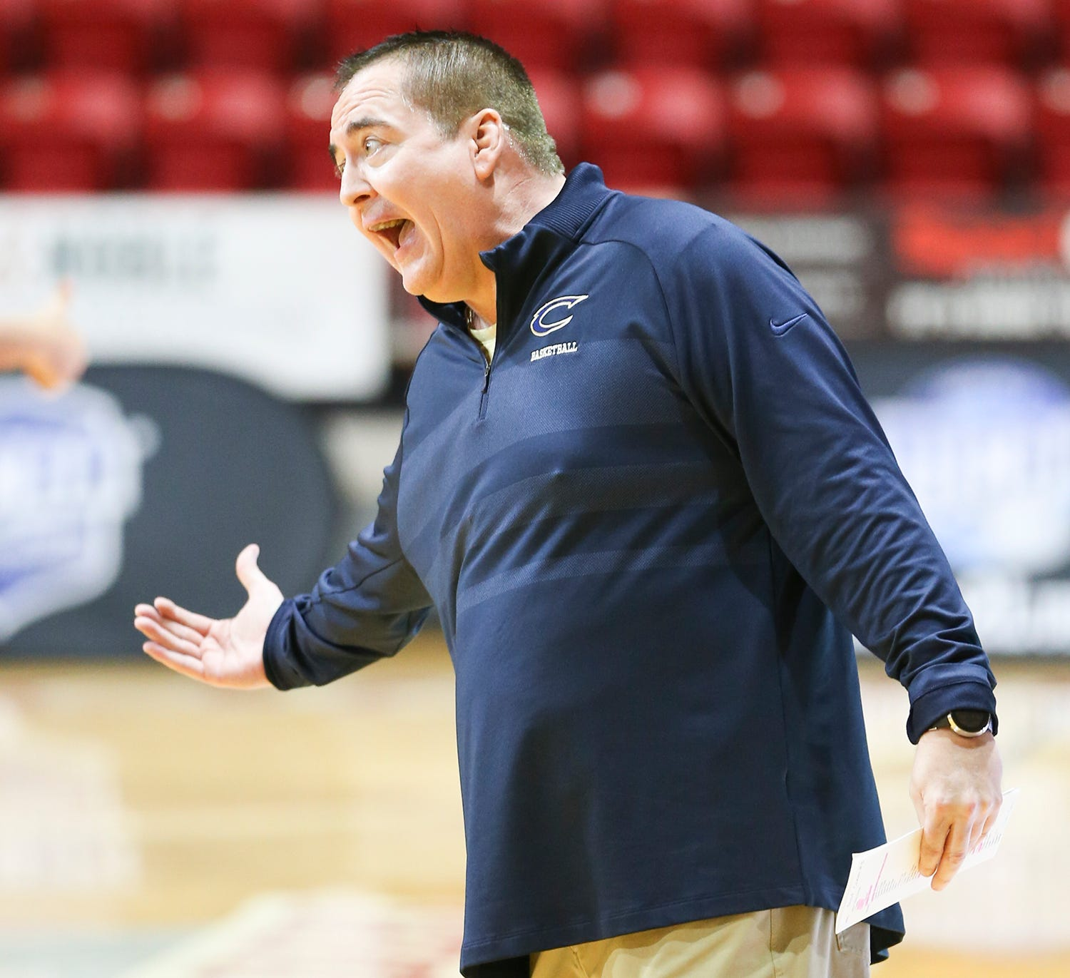 Chipola coach Donnie Tyndall coaches his team during an FCSAA Region VIII quarterfinal game in Niceville, Florida, on Thursday, April, 8, 2021. Tyndall, the former Tennessee and Southern Miss coach,  was hired by the junior college in June.