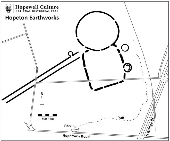 A map of the Hopeton Earthworks in Chillicothe.