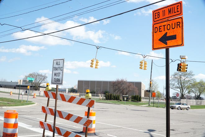 Eleven Mile Road as it approaches Middlebelt from the west in Farmington Hills. A major road improvement project will soon start at the busy crossing.