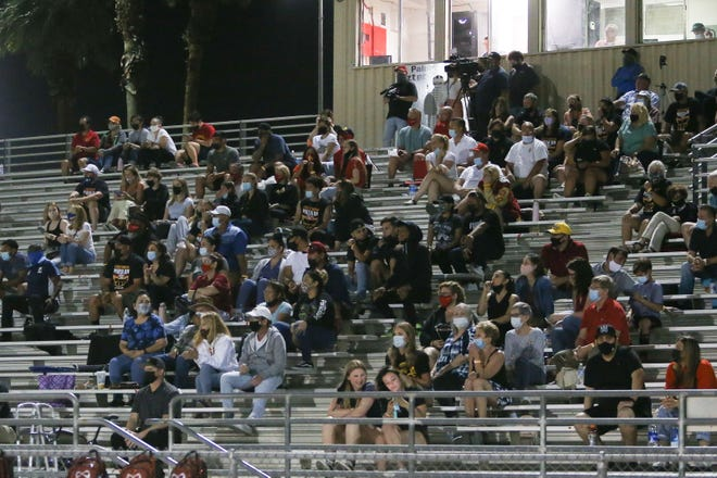 The bleachers during the Rancho Mirage at Palm Desert football game included a few more fans on April 8, 2021 after Riverside County moved into the Orange Tier this week in the coronavirus pandemic.