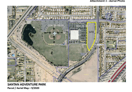 An aerial view of Santan Adventure Park's location in Gilbert's Crossroads Park. The go-kart and mini golf park is expected to open around the end of the year.