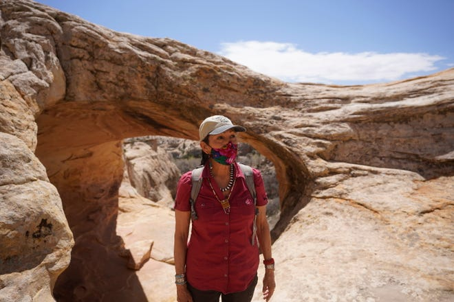 U.S. Interior Secretary Deb Haaland walked along the Butler Wash trail during a visit to Bears Ears National Monument Thursday, April 8, 2021, near Blanding, Utah. She is considering proposals to change the boundaries of the monument.