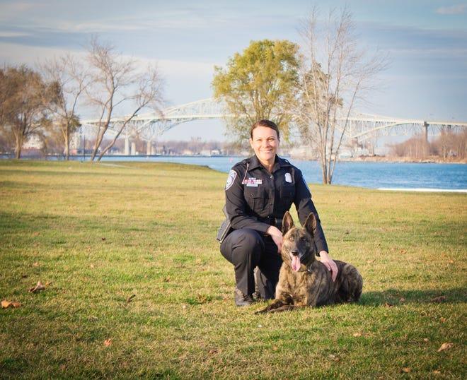 Port Huron Police dog Braddock and his partner, officer Jennifer Sly.