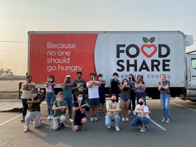 Members of the Camarillo High School Red Cross club volunteered at the Rio Mesa High School pop-up pantry in September, hosted by Food Share of Ventura County.