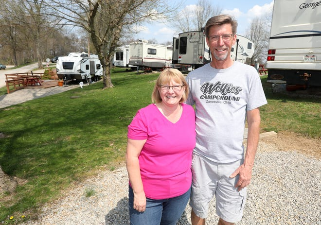 Pat and Dee Biwer, owners of Wolfie's Campground, searched around the Midwest for a campground to purchase for finding a home in Zanesville.