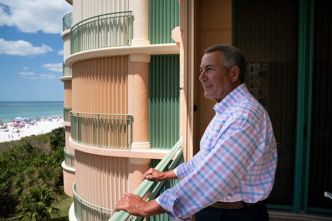 "Former Speaker of the House John Boehner stands for a portrait after speaking with USA TODAY Washington Bureau Chief Susan Page about his new memoir ""On the House: A Washington Memoir,"" in Marco Island, Fla. on April 5, 2021."