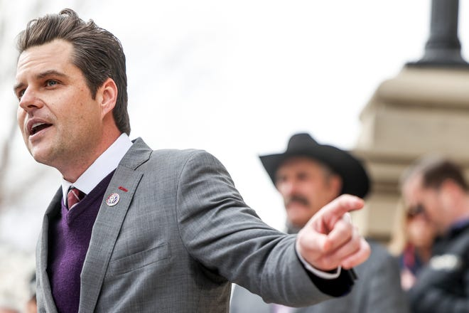 Rep. Matt Gaetz, R-Fla., speaks to a crowd during a rally against Rep. Liz Cheney, R-Wy., on Jan. 28, 2021, in Cheyenne, Wyoming.