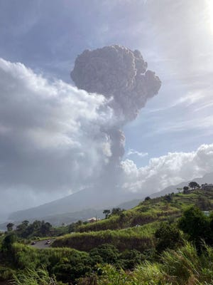 La Soufriere volcano erupted Friday, April 9, 2021, for the first time in 40 years on the Caribbean island of Saint Vincent, prompting thousands of people to evacuate, seismologists said.