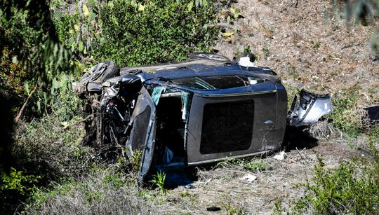 Tiger Woods' vehicle after he was involved in a rollover accident in Rancho Palos Verdes, Calif. On Feb. 23.