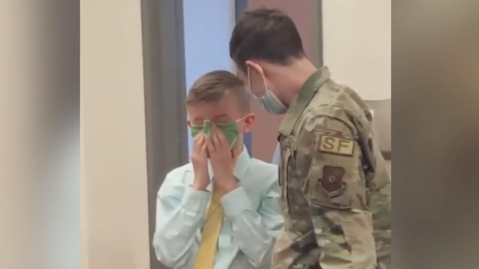 Airman's surprise reunion has brother in tears