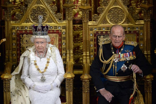 Queen Elizabeth II and her husband, Prince Philip, Duke of Edinburgh, during State Opening of Parliament in London, in May 2010