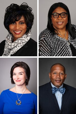 Akron Public Schools superintendent candidates (clockwise from top left) Felisha Gould, Christine Fowler-Mack, Rebecca Kaye and Sandy Womack Jr.