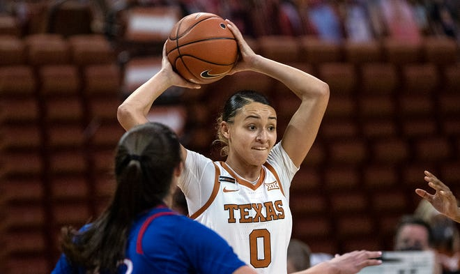 Texas guard Celeste Taylor (0) passes the ball against Kansas on Jan. 14, 2021 in Austin. Taylor will transfer to Duke.