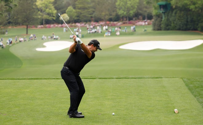 Patrick Reed tees off on No. 4 during Saturday's third round. He