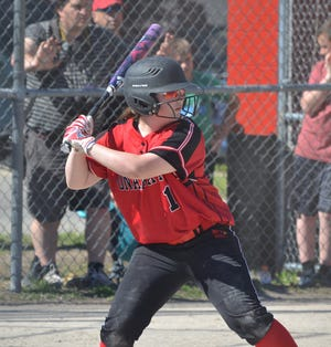 Kyli Brewbaker (1) and the Onaway varsity softball team opened up their season in impressive fashion, sweeping Hillman in a non-conference doubleheader on Thursday, April 8.