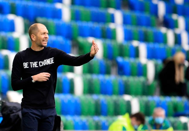 Former Crew coach Gregg Berhalter, here giving instructions to his U.S. players during an international friendly in Belfast, Northern Ireland, on March 28, is making changes to turn U.S. soccer around amid a compacted schedule.