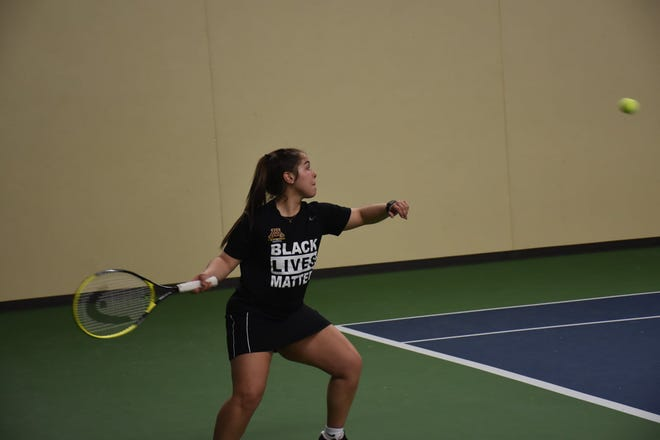 Gabriela Pinto and the Minnesota Crookston tennis team took on Sioux Falls and Augustana Friday afternoon in Grand Forks.