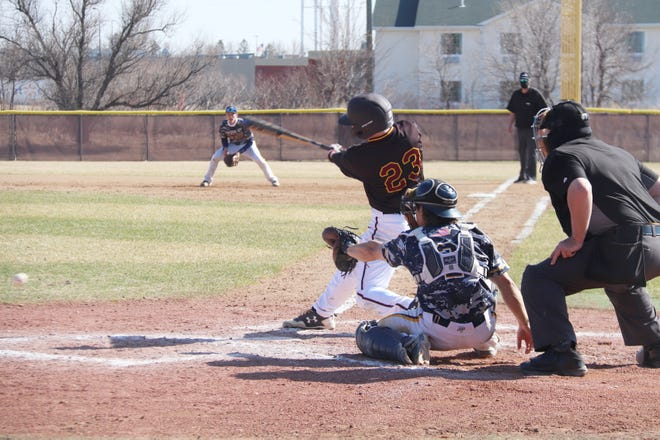 Ben Bryant in a game against Concordia-St. Paul on April 10. Bryant drove in UMC's lone run in Saturday's 8-1 loss to St. Cloud State.