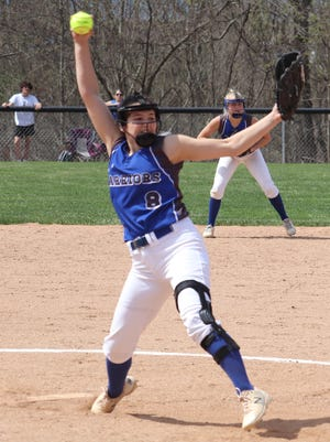 Buckeye Trail senior Sidney Beaver (8) delivers a pitch during Saturday's doubleheader with visiting Cambridge High in Old Washington.