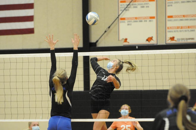 Hudson's Callie Bauer goes up for a kill during the 2020 Division 3 district championship match against Madison.